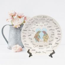 Penguins In Love Map Personalised Ceramic Signature Plate - Ideal Wedding Keepsake or Engagement Gift - Great alternative to a guest book